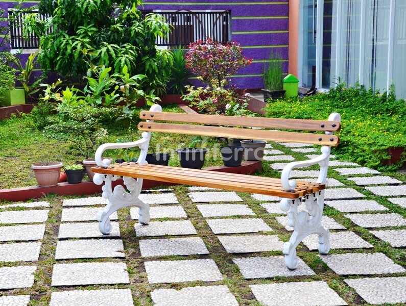 vela cast iron garden bench